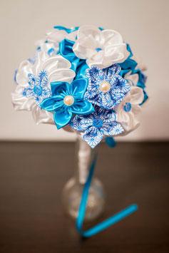 Collection Aude. Bouquet de mariée en tissu blanc et turquoise