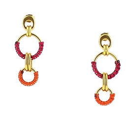 Boucles d'oreilles Lisa - Fushia & Orange