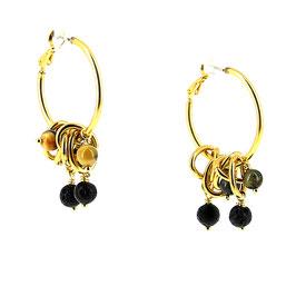 Boucles d'oreilles *Les Chiffonnées | Lave & Oeil de tigre