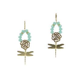 Boucles d'oreilles *Libellule Small | Perles - Vert d'eau*