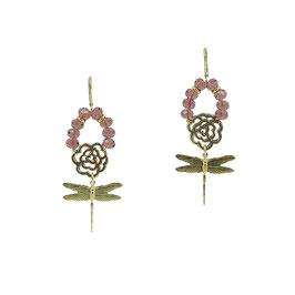 Boucles d'oreilles *Libellule Small | Perles - Aubergine*