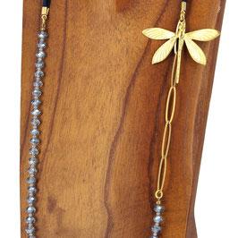 Collier *Libellule | Perles Gris bleuté*