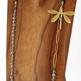 Collier *Libellule | Perles Gris argentées*