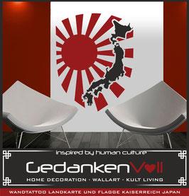 Wandtattoo Landkarte und Flagge Kaiserreich Japan