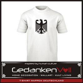 T-Shirt Wappen Deutschland Bundesadler weiß/schwarz