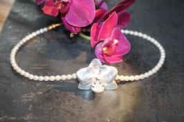 Orchideen Collier mit Perlen
