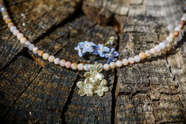 Neu Gold Vergissmeinnicht Collier mit 3 Blüten