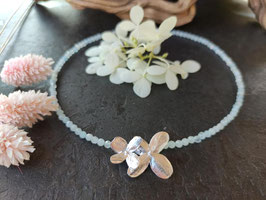 NEU Aquamarin Kette mit Hortensienblüten