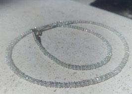 Aquamarin Kette mit Silberkügelchen