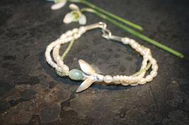 Schneeglöckchen Armband mit Serpentin Tropfen