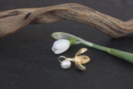 Schneeglöckchen Anhänger in Gold mit Perle