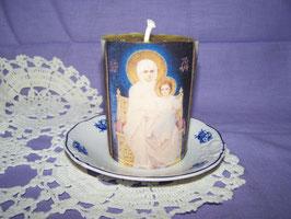 """1 AQ.  Свеча для молитвы с изображением иконы """"Богородица с младенцем Христом"""""""