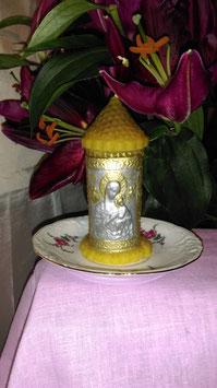 """11. Свеча """"Христианская свеча молитвы с иконой Марии и Иссуса в детском возрасте на покрове энергетической информации о людях."""""""