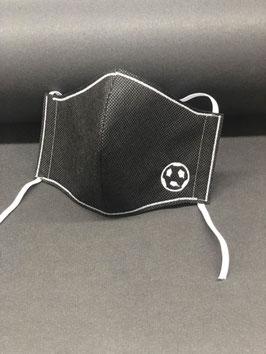 Kinder Alltagsmaske Stoff dunkelgrau innen & Vlies schwarz außen mit Fußball