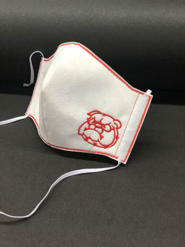 Alltagsmaske Stoff weiß Baumwolle innen & Vlies außen mit Bulldogge