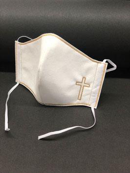 Alltagsmaske Stoff weiß & Vlies weiß mit Kreuz
