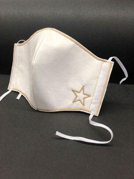 Alltagsmaske Stoff weiß Baumwolle innen & Vlies außen mit Stern