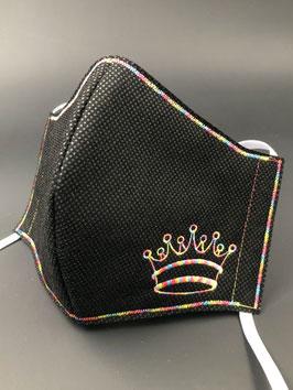 Alltagsmaske Vlies schwarz mit Krone