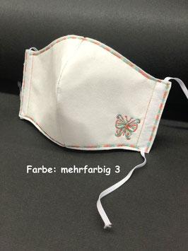 Alltagsmaske Vlies weiß mit Schmetterling