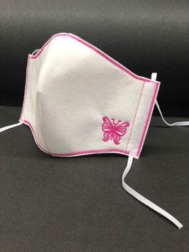 Alltagsmaske Stoff weiß Baumwolle innen & Vlies außen mit Schmetterling