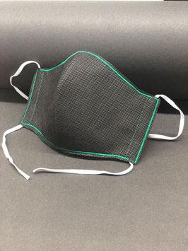 Alltagsmaske Stoff dunkelgrau innen & Vlies schwarz außen