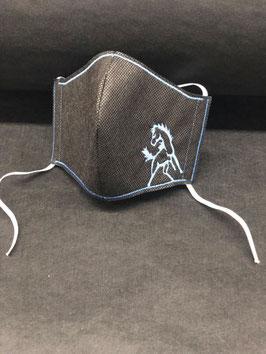 Alltagsmaske Stoff dunkelgrau innen & Vlies schwarz außen mit Pferd