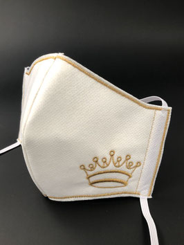 Alltagsmaske Vlies weiß mit Krone