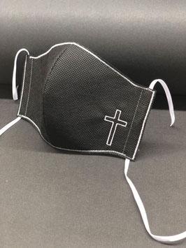 Kinder Alltagsmaske Stoff dunkelgrau innen & Vlies schwarz außen mit Kreuz