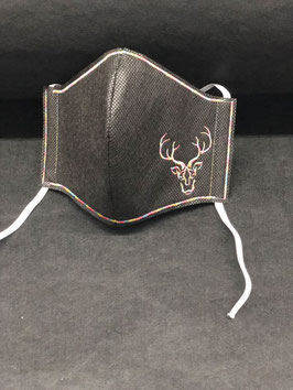 Alltagsmaske Stoff dunkelgrau innen & Vlies schwarz außen mit Hirsch
