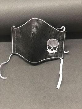 Alltagsmaske Stoff dunkelgrau innen & Vlies schwarz außen mit Totenkopf silbern, gold oder pink