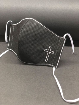 Alltagsmaske Stoff dunkelgrau innen & Vlies schwarz außen mit Kreuz