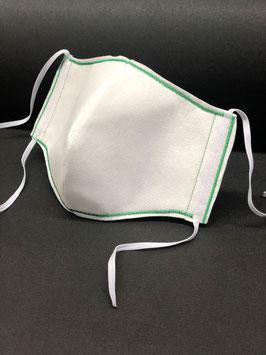 Alltagsmaske Stoff weiß Baumwolle innen & Vlies außen