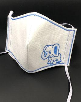 Kinder Alltagsmaske Stoff weiß & Vlies weiß mit Elefant
