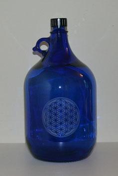 Bouteille en verre bleu cobalt 5 L gravée avec Fleur de vie  (Modèle 4)