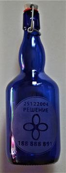 Bouteille en verre bleu cobalt 0,75 L gravée avec Cellule Grabovoï