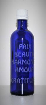 Flacon en verre bleu cobalt 0,2 L gravée avec Mots sacrés