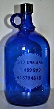 Bouteille en verre bleu cobalt 2L gravée avec Séries numériques Grabovoï