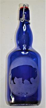 Bouteille en verre bleu cobalt 0,75 L gravée avec Bison/Wopila