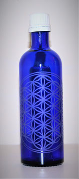 Flacon en verre bleu cobalt 0,2 L gravée avec Fleur de Vie (Modèle 3)