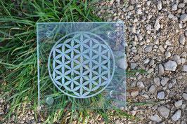 Plaque de verre gravée avec Fleur de Vie (Modèle 1 ou 3)