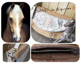 Sac besace  Sand cuir veau et effet python