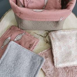 Lingettes  lavables petits poisson bois de rose