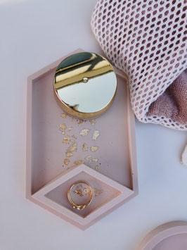 Grande coupelle exagone feuilles d'or ou argent