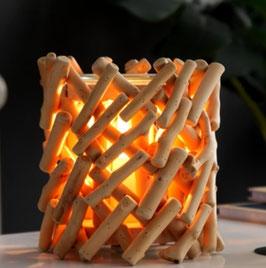 Diffuseur chaleur douce pour fondants parfumés électrique rondins bois