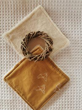 Lingettes  lavables oiseaux origami caramel