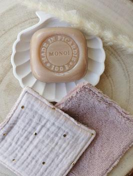 Lingettes lavables rose thé pois doré