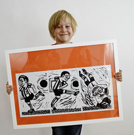 Fussballer mit Torwart