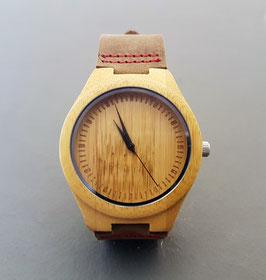 ♥ Holz-Leder-Armbanduhr Bambus ♥