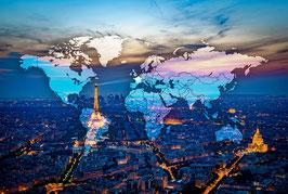 Carte du monde PARIS BY NIGHT