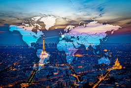 Carte du monde PARIS BY NIGHT